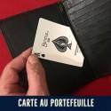 Carte au portefeuille à table